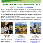 ESSP Newsletter October – December 2015